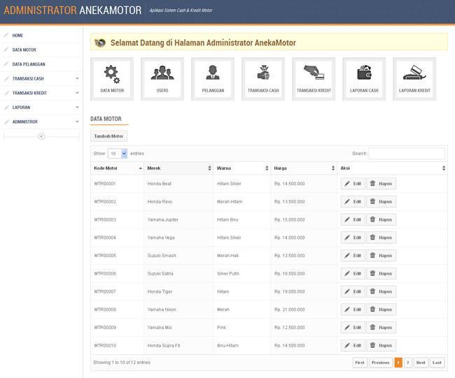 Aplikasi Penjualan Cash dan Kredit Motor Berbasis Php dan Mysql